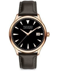Movado Heritage Series Calendoplan Rose Goldtone Stainless Steel Leather Strap Watch