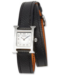 Hermes Heure H Tpm Watch With Black Leather Wrap Strap