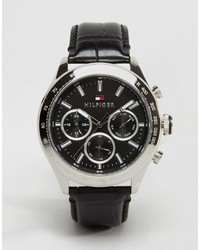 Tommy Hilfiger Hudson Leather Watch In Black 1791224