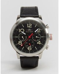 Tommy Hilfiger Jake Chronograph Leather Watch In Black 1791232