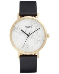 Cluse La Roche Marble Leather Strap Watch 38mm