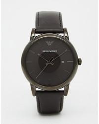 Emporio Armani Leather Watch In Black Ar1732