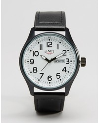 Limit Leather Black Watch With White Dial