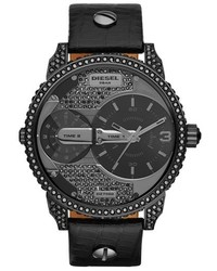 Diesel Little Daddy Crystal Accent Leather Strap Watch 46mm