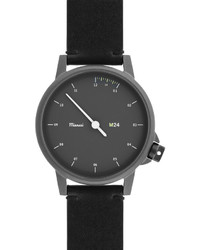 M24 stainless steel watch with leather strap black medium 610457