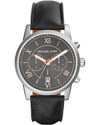 Michael Kors Michl Kors Hawthorne Leather Strap Watch Black