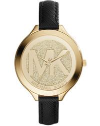 6b8e66947c8f ... Michael Kors Michl Kors Slim Runway Black Saffiano Leather Strap Watch  42mm Mk2392