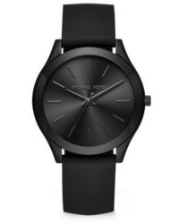 6983306bc284 ... Michael Kors Michl Kors Slim Runway Black Stainless Steel Leather Strap  Watch