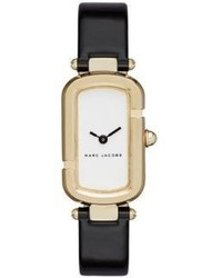 Marc Jacobs Monogram Goldtone Stainless Steel Patent Leather Strap Watch