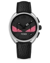Fendi Moto Bug Black Stainless Steel Leather Strap Watch