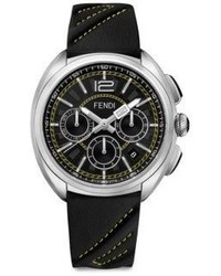 Fendi Moto Stainless Steel And Romano Leather Strap Watch