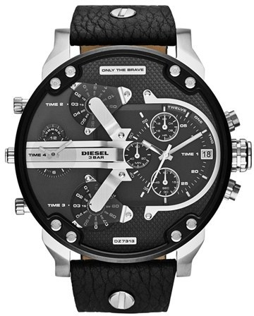 833011c3a2fa ... Black Leather Watches Diesel Mr Daddy 20 Chronograph Watch 57mm ...