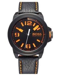 Boss Orange New York Round Leather Strap Watch 47mm