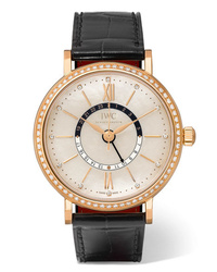 IWC SCHAFFHAUSEN Portofino Automatic Day Night 37 Alligator 18 Karat Red Gold Mother Of Pearl And Diamond Watch