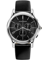 Emporio Armani Quartz Chronograph Watch With Leather Strap Black