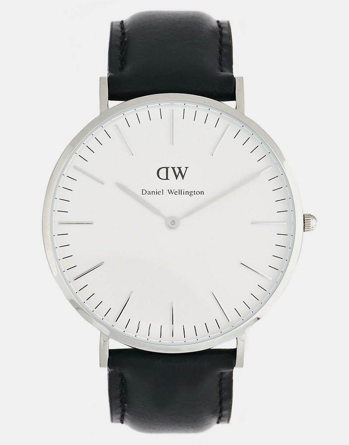 785ac6a6f ... Black Leather Watches Daniel Wellington Sheffield 40mm Leather Strap  Watch ...