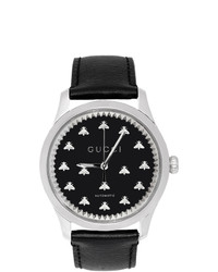 Gucci Silver And Black G Timeless Automatic Bees Watch