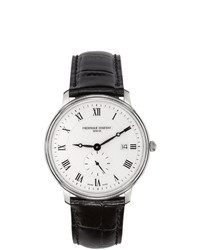 Frederique Constant Silver And Black Slimline Gents Small Seconds Watch