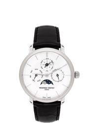 Frederique Constant Silver And Black Slimline Perpetual Calendar Watch