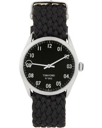 Tom Ford Silver Black Leather 002 Watch