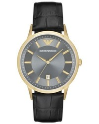 Emporio Armani Slim Croc Embossed Leather Strap Watch 43mm