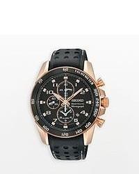 Seiko Sportura Stainless Steel Two Tone Leather Chronograph Watch Sn80