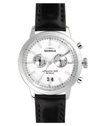 Shinola The Bedrock Chronograph Leather Strap Watch