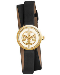 Tory Burch The Reva Leather Wrap Watch Blackwhitegolden