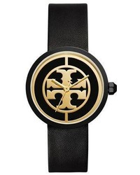 Tory Burch The Reva Three Hand Leather Strap Watch Blackgolden