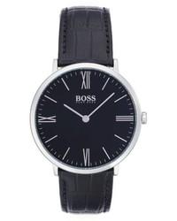 BOSS Ultra Slim Leather Strap Watch