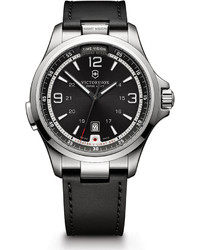 Swiss Army Victorinox Night Vision Watch With Leather Strap Black