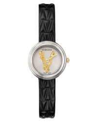 Versace Virtus Mini Leather Watch