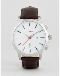 French Connection Watch In Brown Croc Leather Strap