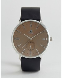 Asos Watch With Black Leather Strap And Champagne Face