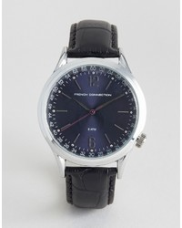 French Connection Watch With Black Leather Strap