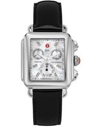 Michele Watches Deco Diamond Mother Of Pearl Stainless Steel Patent Leather Chronograph Strap Watch
