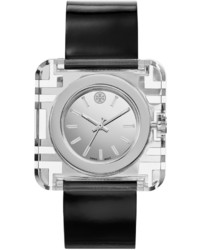 Tory Burch Watches Izzie Leather Strap Stainless Steel Watch Black