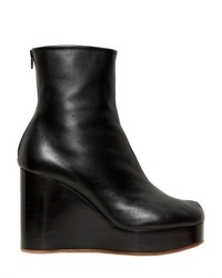 100mm Tabi Leather Wedge Ankle Boots