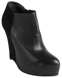 A.F.Vandevorst Af Vandevorst Black Leather And Suede Platform Wedge Heel Ankle Boots