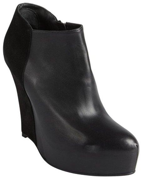 A F Vandevorst Af Vandevorst Black Leather And Suede Platform Wedge