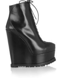 Alaa leather wedge ankle boots black medium 625395