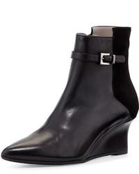 Aquatalia Deniz Leather Wedge Bootie Black