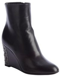Christian Dior Black Leather Cannage Day Wedge Ankle Boots