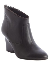 Belle by Sigerson Morrison Black Leather Perforated Edge Nicki Ankle Boots