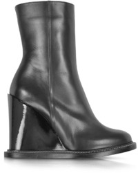Jil Sander Black Leather Wedge Ankle Boot