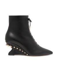 Salvatore Ferragamo Blevio Studded Leather Wedge Ankle Boots