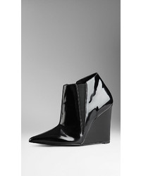 Burberry Patent Leather Wedge Ankle Boots