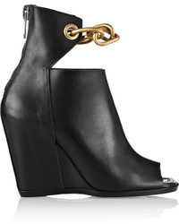 Rick Owens Chain Trimmed Leather Wedge Ankle Boots