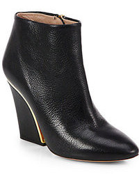 Chloé Chloe Leather Wedge Ankle Boots