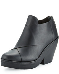 Eileen Fisher Cosmo Crisscross Leather Wedge Bootie Black